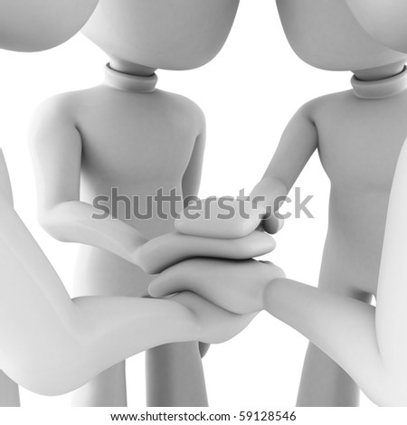 3d man teamwork, isolated on white - stock photo
