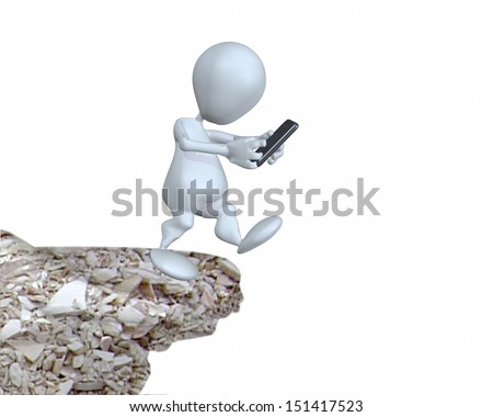 3d man texting while walking off a high cliff - stock photo