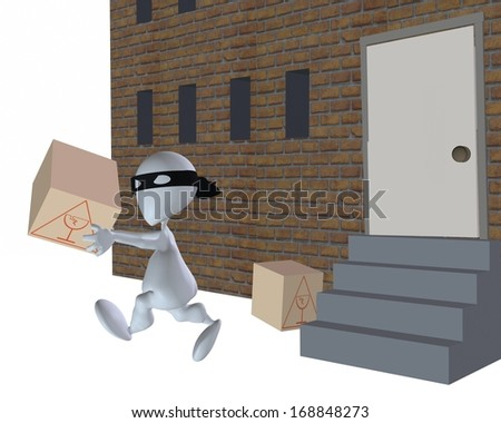 3d man thief stealing a delivery  - stock photo
