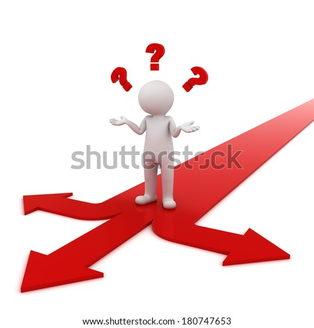 3d man thinking and confusing with three red arrows showing three different directions wondering which way to go over white background - stock photo