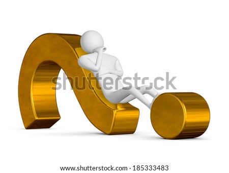 3d man thinking, holding his chin with his hand, lying on golden question mark isolated on white - stock photo