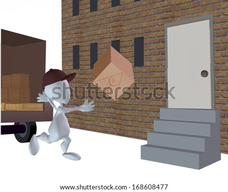 3d man throwing fragile box in a bad delivery - stock photo