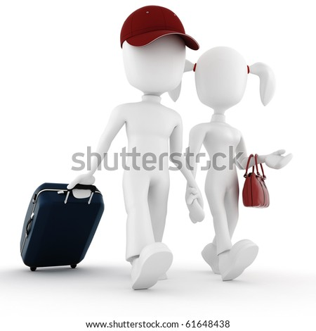 3d man traveler, in vacation - stock photo