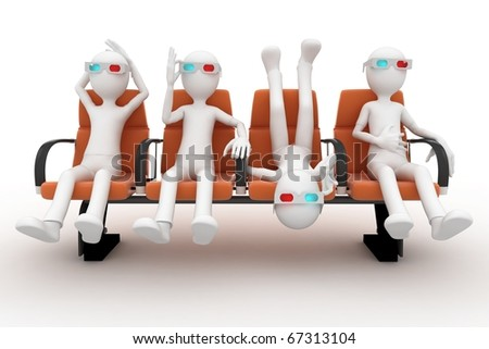 3d man watching 3d movie isolated on white - stock photo