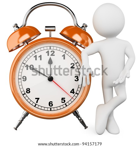 3D man with a huge alarm clock. Rendered at high resolution on a white background with diffuse shadows. - stock photo