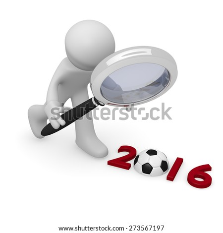 3d man with a magnifying glass and the Year 2016 with a soccer ball - stock photo