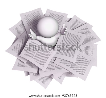3d man with a stack of papers - stock photo