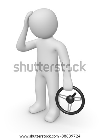 3d man with a steering wheel - stock photo