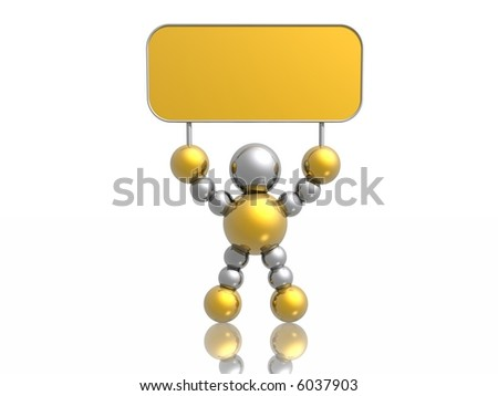 3D man with blank banner - stock photo