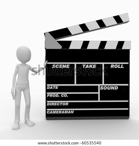 3d man with blank movie clapper - stock photo
