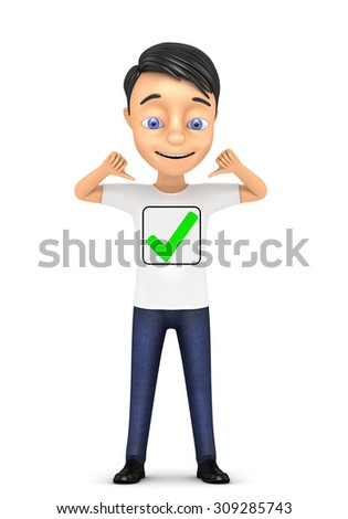 3d man with check mark on a white background - stock photo
