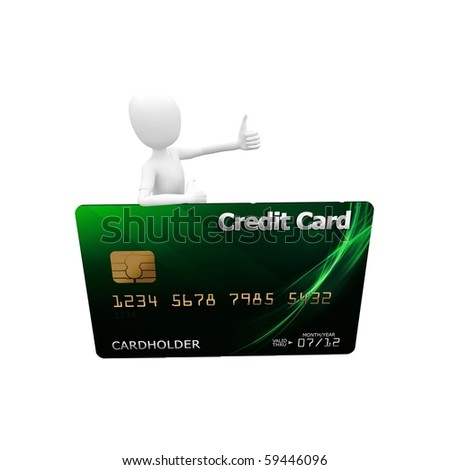 3d man with credit card  green - stock photo