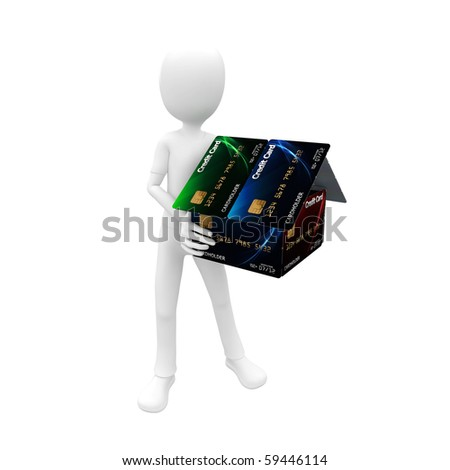 3d man with credit card house green blue - stock photo