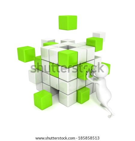 3d man with different blocks. business structure concept 3d render illustration - stock photo
