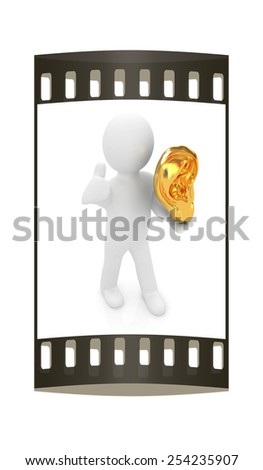 3d man with ear gold 3d render isolated on white background. The film strip  - stock photo