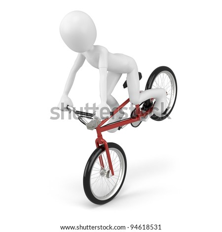 3d man with generic stunt bike on white background - stock photo
