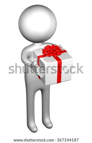 3d Man with gift box tied ribbon with a bow, isolated on white background. - stock photo