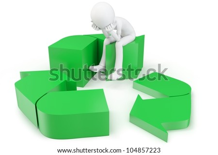 3d man with green recycling symbol on white background - stock photo