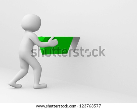 3d man with green triangle - 3d render illustration - stock photo