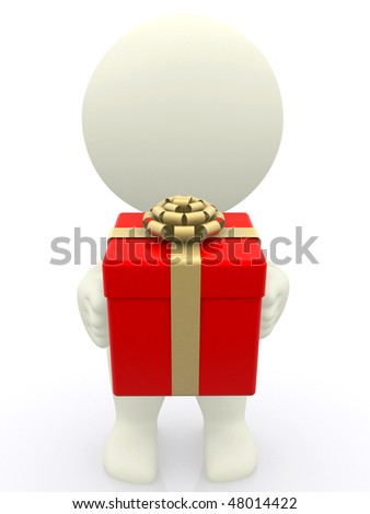 3D man with holding a gift box isolated over white - stock photo