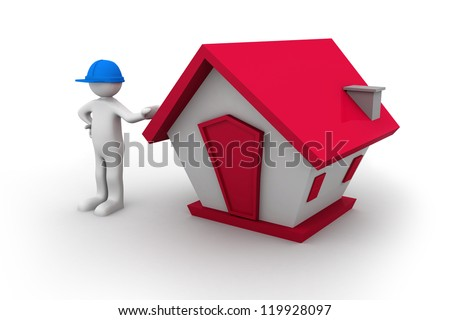 3d man with house - stock photo