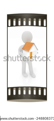 3d man with house on a white background. The film strip - stock photo