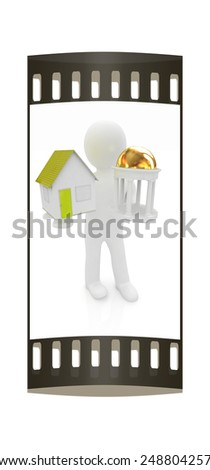3d man with houses and rotunda on a white background. The film strip - stock photo