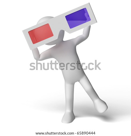 3D man with large 3D glasses - stock photo