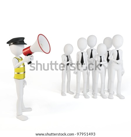 3d man with megaphone speaking to the crowd on white background - stock photo