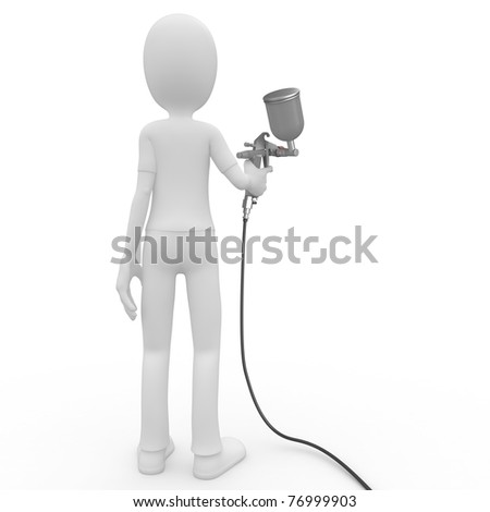 3d man with paint gun isolated on white - stock photo