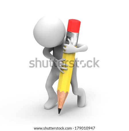 3d Man with Pencil - stock photo