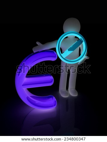 3d man with prohibition sign and dollar - stock photo
