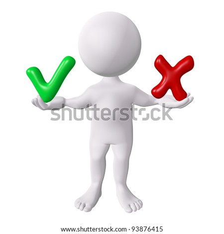 3d man with red and green check marks - stock photo