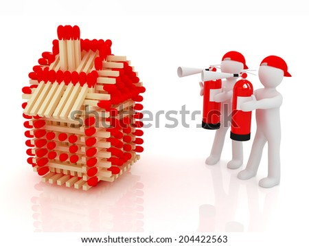 3d man with red fire extinguisher and log houses from matches pattern on white  - stock photo