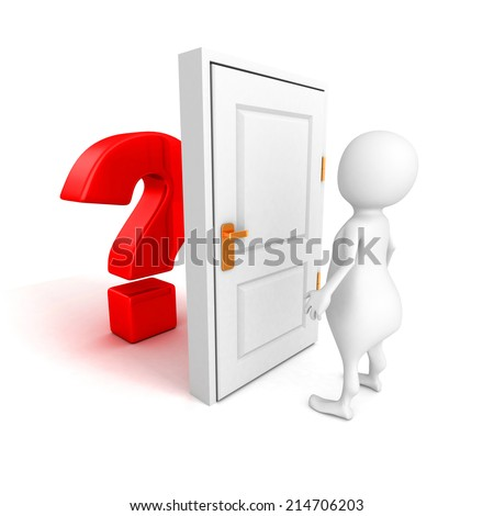 3d man with red question mark behind door. 3d render illustration - stock photo