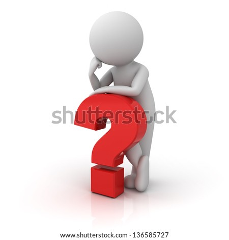 3D Man with red question mark over white background with reflection - stock photo