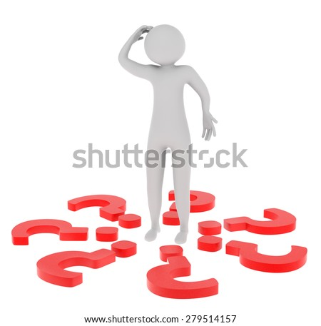 3d man with red question marks isolated on white background - stock photo