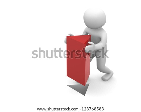 3d man with red triangle - 3d render illustration - stock photo