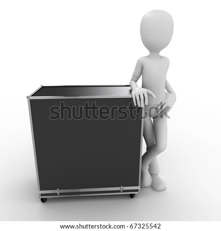 3d man with shipping  case  isolated on white - stock photo