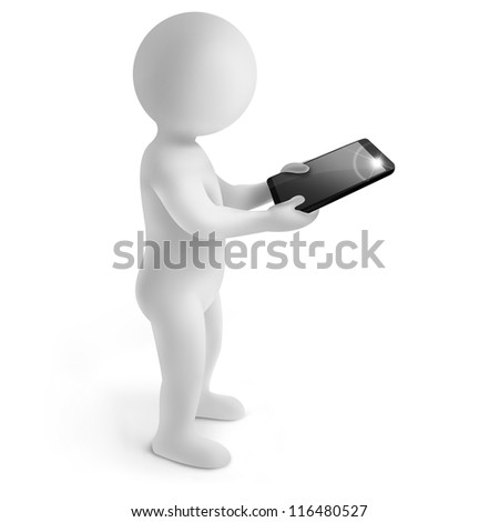 3d man with tablet on white background - stock photo