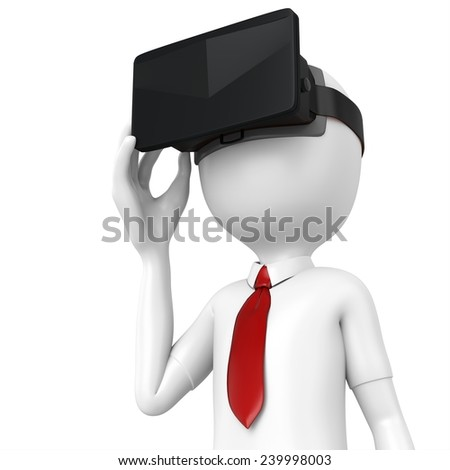 3d man with virtual reality goggles on white background  - stock photo