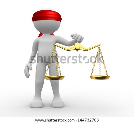 3d man with weight scale. Symbol of justice. - stock photo