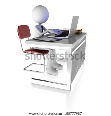 3d man working at desk with laptop. Rendered on white background - stock photo