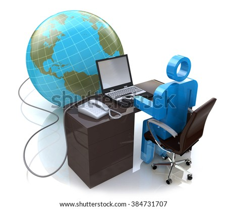 3d man working on computer connected to globe in the design of the information associated with the global work - stock photo