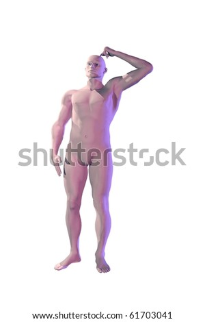 3d Mannequin dummy man scratching head concept image - stock photo