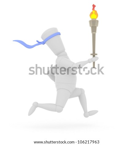 3D mannequin running with Olympic torch. - stock photo
