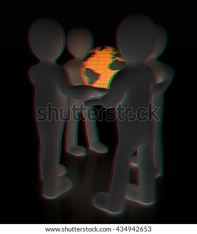 3d mans holding the Globe on a black background. 3D illustration. Anaglyph. View with red/cyan glasses to see in 3D. - stock photo