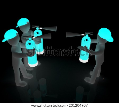3d mans with fire extinguisher. The concept of confrontation on a black background - stock photo