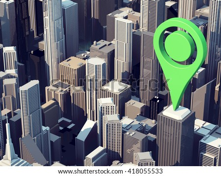 3D map locator icon - stock photo