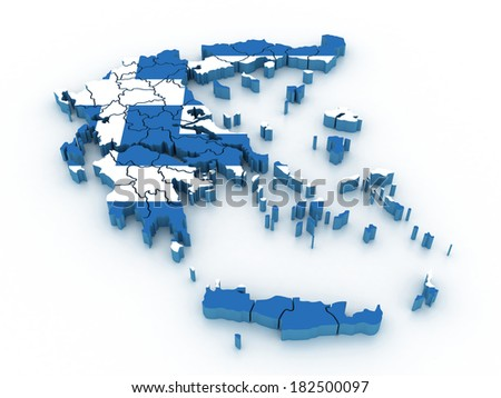 3d Map of administrative divisions of Greece with the capital cities - stock photo